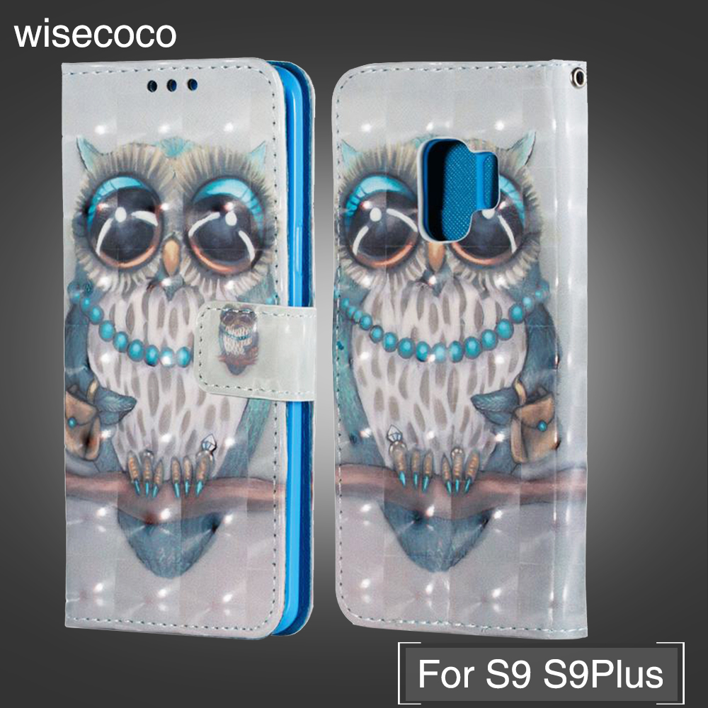 For Samsung Galaxy S9 Plus Case Flip Wallet Cover For Samsung S9plus s 9 Owl PU Leather Case Cover With Card Slot Holder Coque