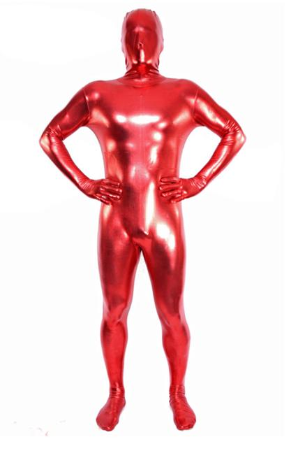 Special price! red Zentai Flesh Full Body Costume Shiny Metallic Zentai Suit Cosplay Costume Men Womens Lycra Jumpsuit