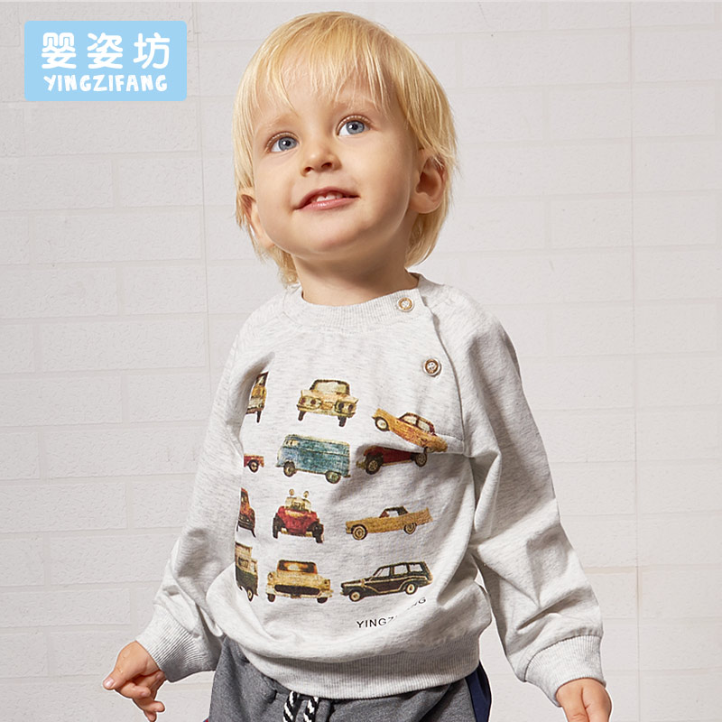 Infant Spring New Full O-Neck Character Cotton Cartoon Car Casual Sleeve Sweatshirt Boys Pullover Top Shirts Clothing Tees