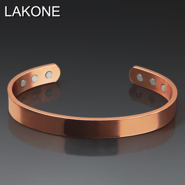 Lakone Fashion Pure Copper Bangle Rose Gold Color 6 Magnets Health Balance Magnetic Women Bangles