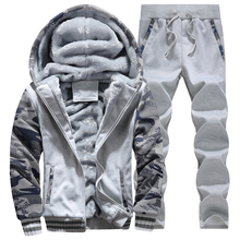 Tracksuit Men Plus Velvet Camouflage Army Casual Hooded Warm Hoodie Men Winter Thick Inner Fleece 2PC Pant Men Moleton Masculino