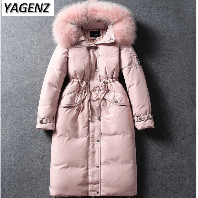 Winter Big Raccoon Fur collar Down Jacket Women Hooded Coats Slim Thick Warm Long Outerwear High-Grade Cotton Jacket Female