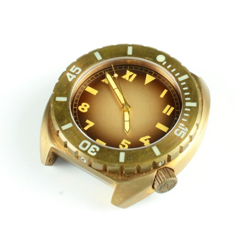 San Martin Men Mechanical Bronze Automatic Watch Sapphire glass 50ATM Bronze Bezel Buckle Rubber Starp Vintage Diving Wristwatch