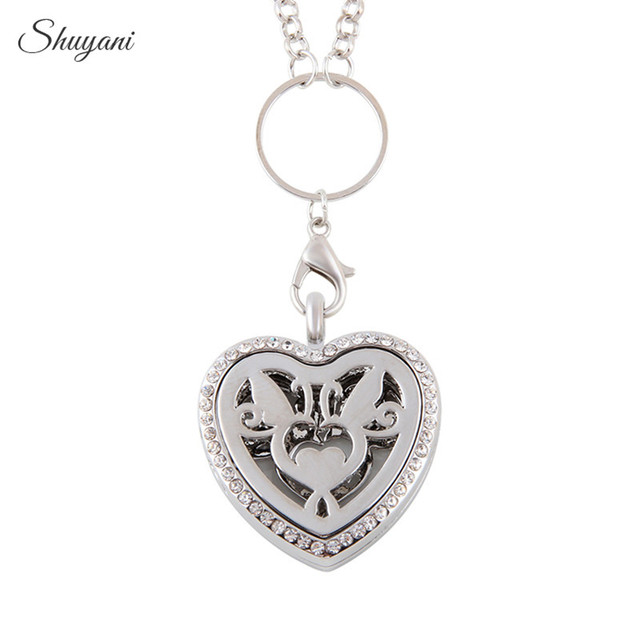 10PCS Free Chain 30mm Crystal Heart Essential Oils Diffuser Locket Pendant Angel Heart Aromatherapy Locket Necklace with Pads