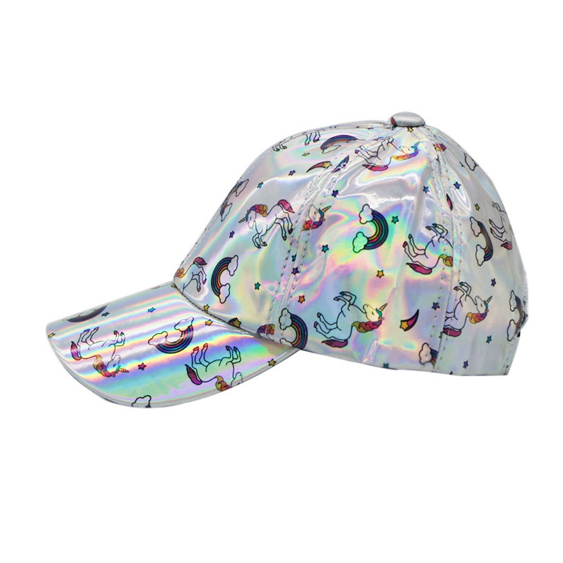 Fashion Print Colorful PU Unicorn Caps Bright Rainbow Cap Leather Baseball Caps For Men Women's Visor Cap With A Unicorn