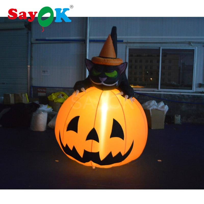 Chat noir gonflable de citrouille gonflable de décoration de Halloween de 6.56ft avec les lumières menées