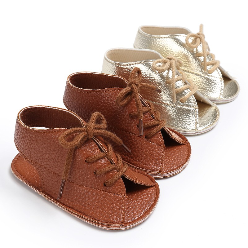 2018 Fashion Baby Shoes Summer Fashion Boys Girls Lace-Up PU Leather Soft Soled Anti-Slip First Walkers Kids Sandals