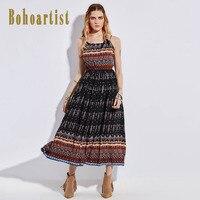 Bohoartist Apparel Long Women Dress Summer Black Spaghetti Strap Backless Print Bohemian Ladies Casual Ankle Length