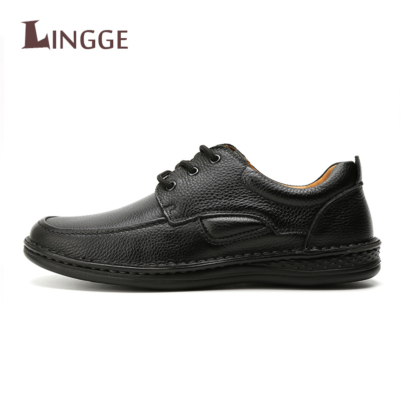 2018 New High Quality Genuine Leather Men Casual Shoes Soft Leather Flats Shoes Comfortable Fashion Business Work Shoes For M men shoes tide shoes casual fashion oxford business men shoes leather high quality soft casual breathable men s flats man shoes