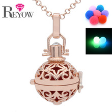 Noctilucence Glow Beads Rose Gold Hollow Flower Locket Pendant Chain Necklace Aromatherapy Fragrance Essential Oil Diffuser