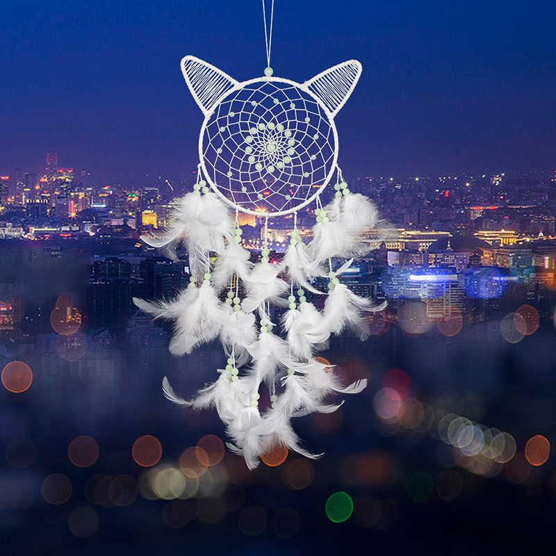 Di trasporto del nuovo Creativo Gatto Luminoso Dream Catcher Fluorescente Pendente Casa Carillon di Vento Della Piuma Della Decorazione Della Parete Interna Appeso Dream Catcher