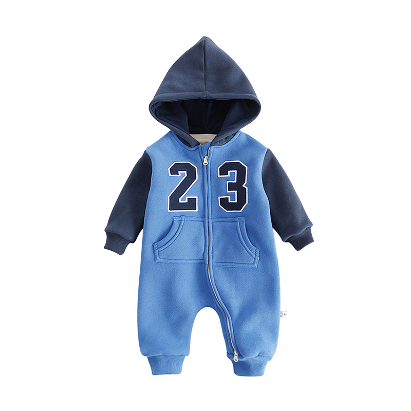 6cf90e88ce41 Baby Clothing Winter Warm Hooded Rompers Long Sleeves Infant Number 23  Sportswear Kids Boys Girls Zipper Jumpsuit Outerwear Tags