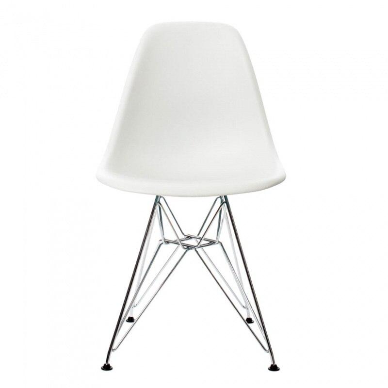 6 pièces pour beaucoup PP décontracté Chaises de Salle À Manger Moderne Chaises En Acier Jambes Couleur Blanc