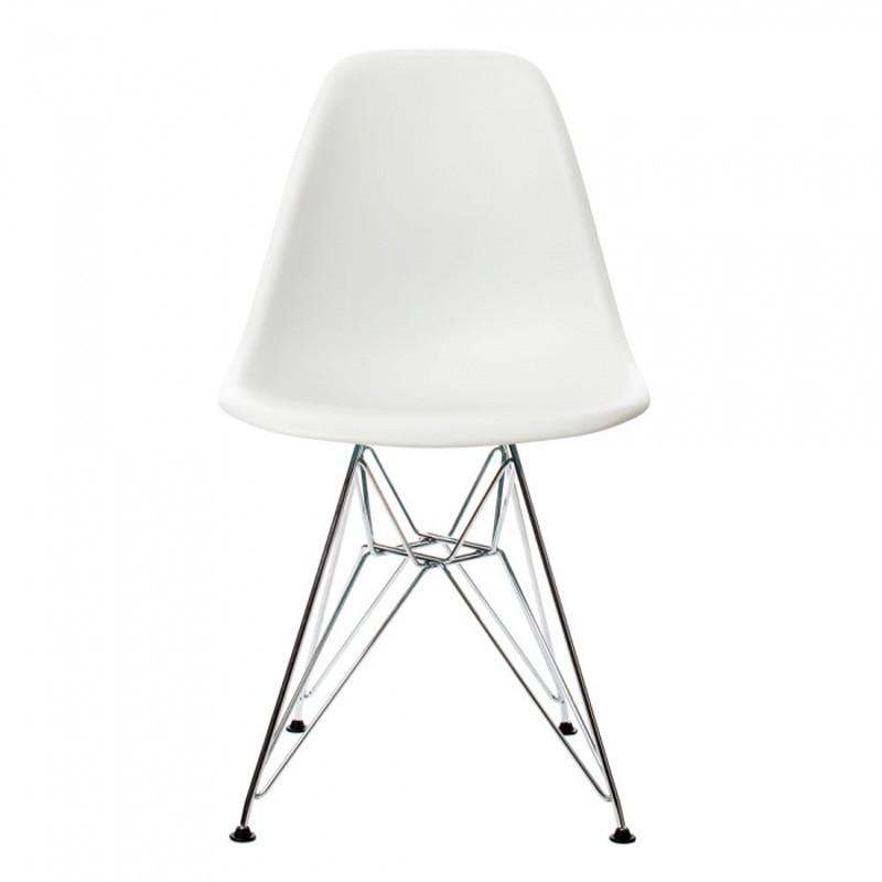 6 ცალი ბევრი PP შემთხვევითი სასადილო სკამები თანამედროვე კრეატიული სკამები ფოლადის ფეხები ფერი თეთრი