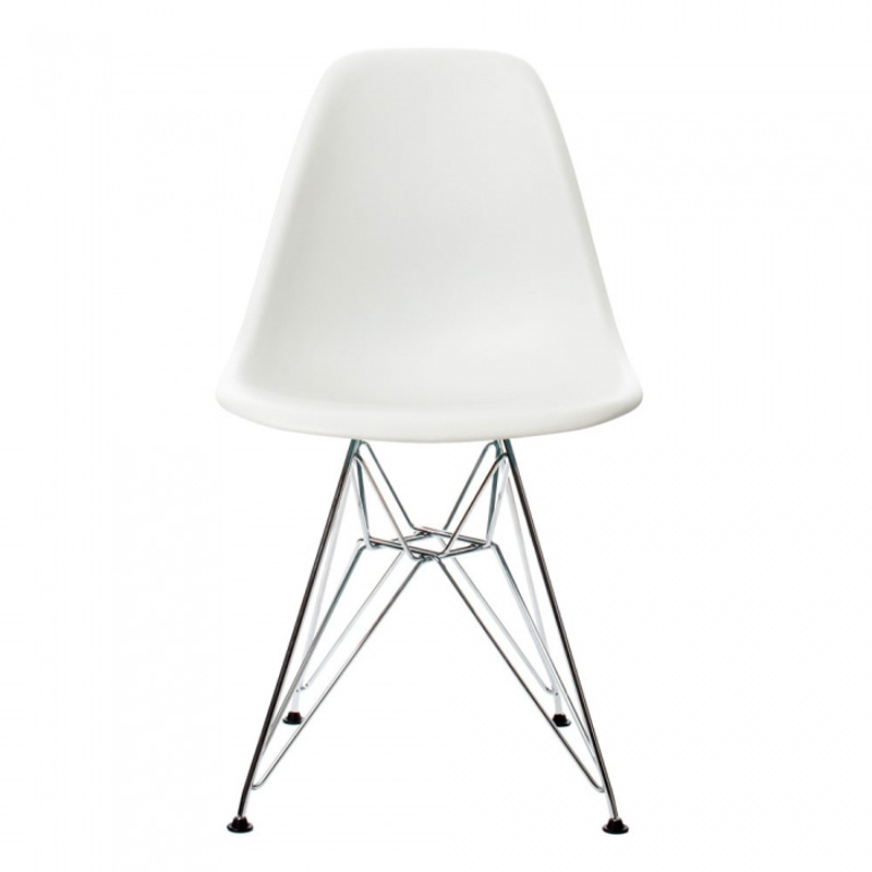6 pieces for a lot PP Casual Dining Chairs Modern Creative Chairs Steel Legs Color White