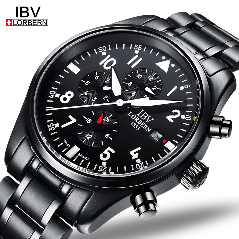 где купить Luxury IBV watch men Sapphire crystal mechanical Waterproof luminous Military date silver Watch Relogio masculino по лучшей цене