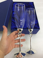Double Heart Rings Sliver Champagne Flutes Silver Wine Goblet Wedding Glasses with plated chrom stem Sliver Plated wedding Cups