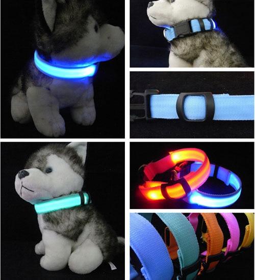 Collar de Perro de Nylon Para Mascotas LED Nocturna de Seguridad LED Parpadeante