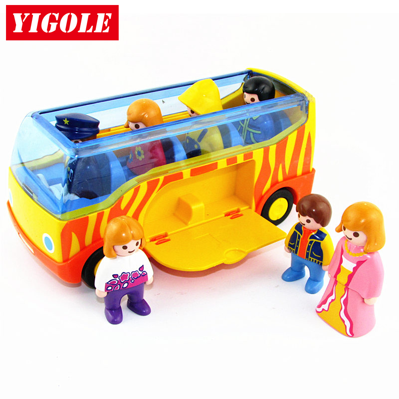 Original Playmobil Summer Fun City Life Bus + 7 Action Figures Set kids Best Figure Toys Birthday Gift 12pcs set children kids toys gift mini figures toys little pet animal cat dog lps action figures