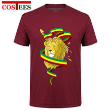 3de0ac8575ad98 Funny Tees Men T Shirts Reggae Lion Zion Costume Adult Rasta Lion Top  Novelty Camisetas Natural Cotton Short Sleeve tshirt homme