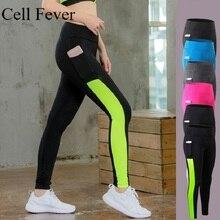 Pantalons de Yoga taille haute avec poche contrôle du ventre pantalons de course d'entraînement pour les femmes séchage rapide Non transparent Sport Leggings XS-2XL
