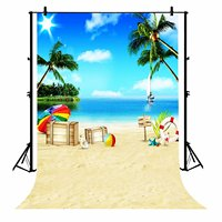 5x7ft Sun Sky Clouds Sailboat Palm Tree Ocean Beach Hawaii Party Polyester Photo Background Portrait Backdrop