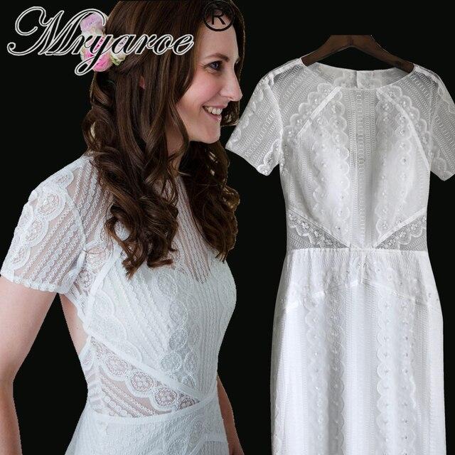 Mryarce Vintage Lace Beading Bohemian Modest Wedding Dress Short ...