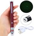 Лазерная указка с USB зарядкой высокой мощности 5 мВт 532 нм яркий с одной точкой звезда USB Lazer фонарик горячая Распродажа Красный корпус