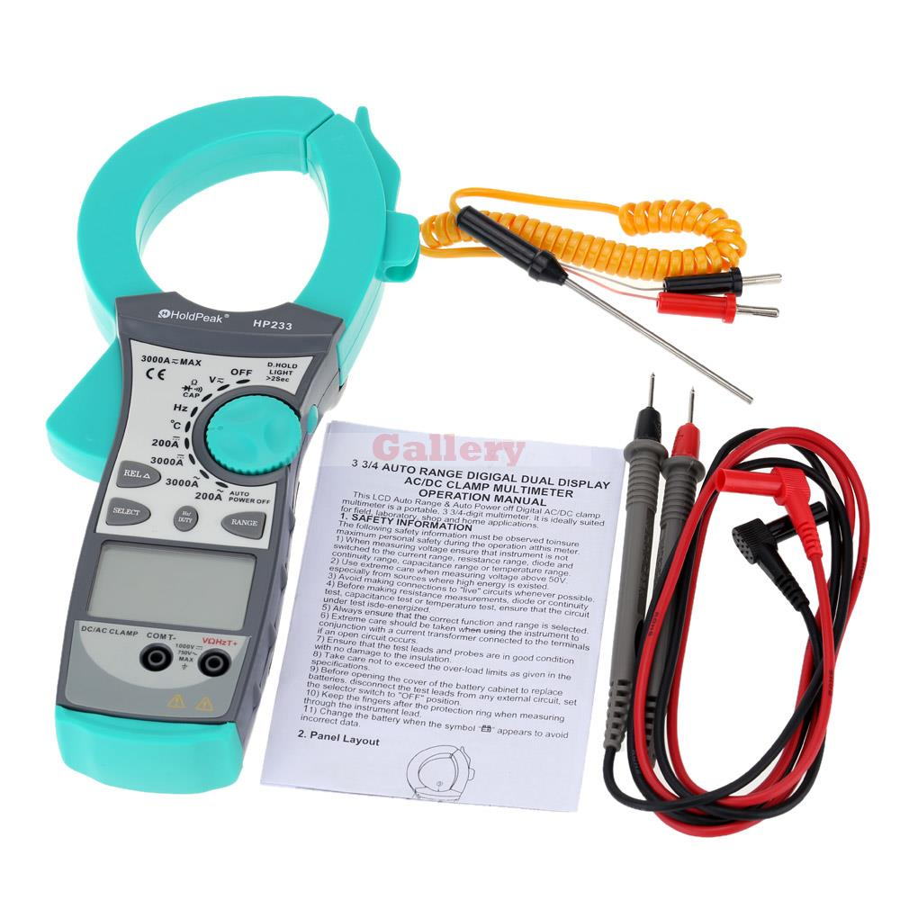 Digital LCD Dual-display Clamp Meter Multimeter DC/AC Voltage 3000A Current Resistance Capacitance Diode Continuity Tester  цены