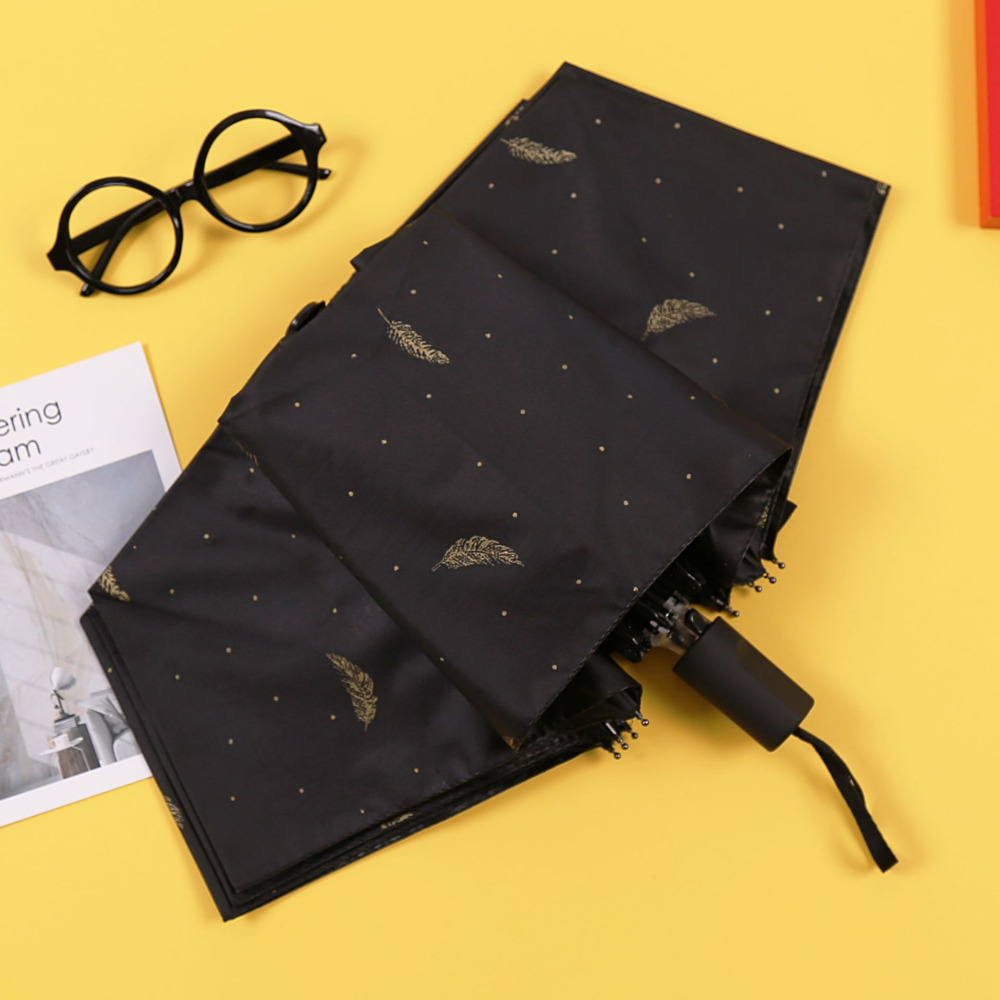 Gilding Feather Black Rubber Sunshade Small Fresh Sunny Umbrella Fold Defence Rubber Three Folding Umbrella Too Parasol