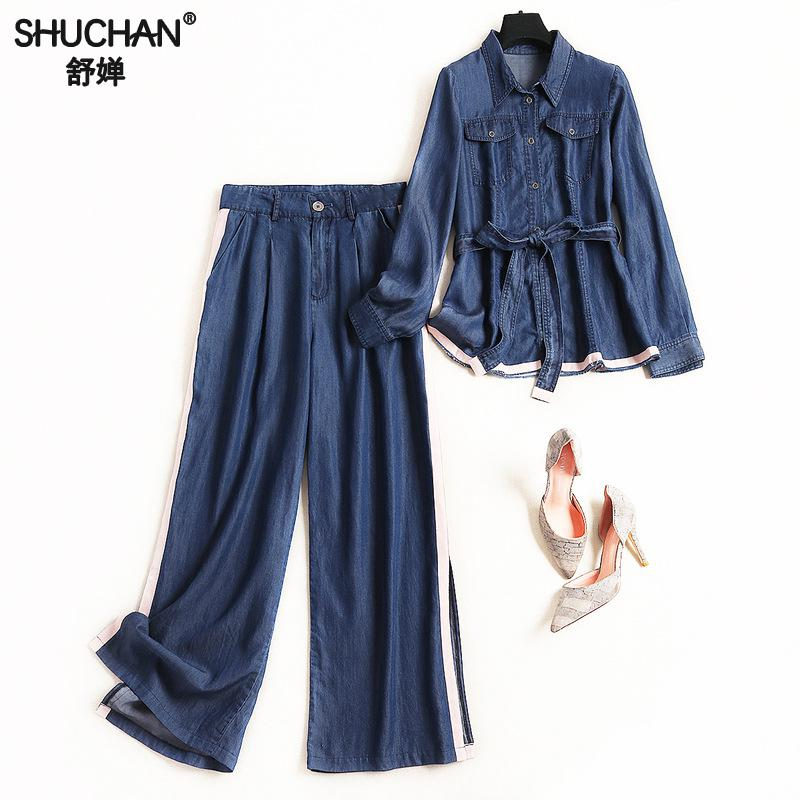 Shuchan New 2019 Women's Suit Denim Casual Single Breasted Blouse+ Full Length Jeans Clothing Sets For Women fashion 10207