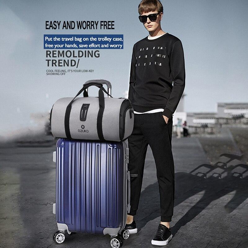 OZUKO sac à dos de voyage pour hommes costume stockage grande capacité voyage sac à main multifonction étanche voyage Mochila avec poche à chaussures - 2