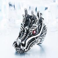 High Quality Titanium Steel Chinese Dragon Head Ruby Eye Sapphire Eye Dragon Head Ring Forefinger Ring
