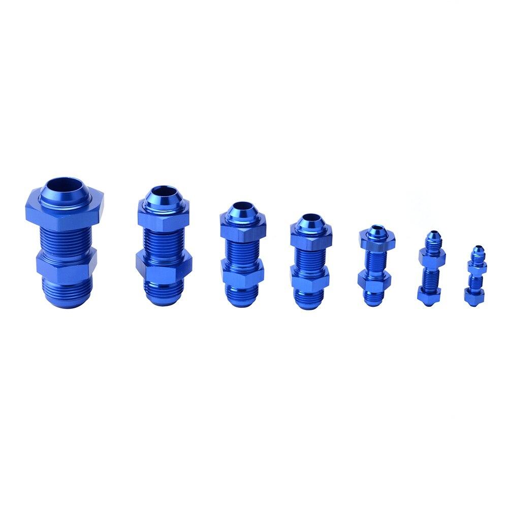 Aluminum 90 Degree 8 AN Male Flare Union Bulkhead Fuel Fitting with AN8 Bulkhead Nut Blue