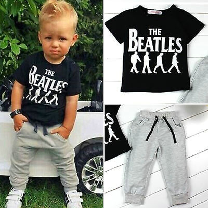Clothes Set Funic Toddler Kids Baby Boys Letter Print T Shirt Tops