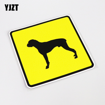 YJZT 13CM*13CM Fashion Car Styling Boxer Dog PVC Car Sticker Waterproof Decal Decoration 13-1029 image