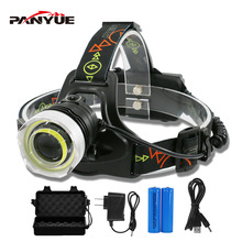 PANYUE Bright light Head lamp 4 Mode USB Rechargeable Head Flashlight Torch 1000LM COB and XM-L2 LED Camping Headlight Headlamp