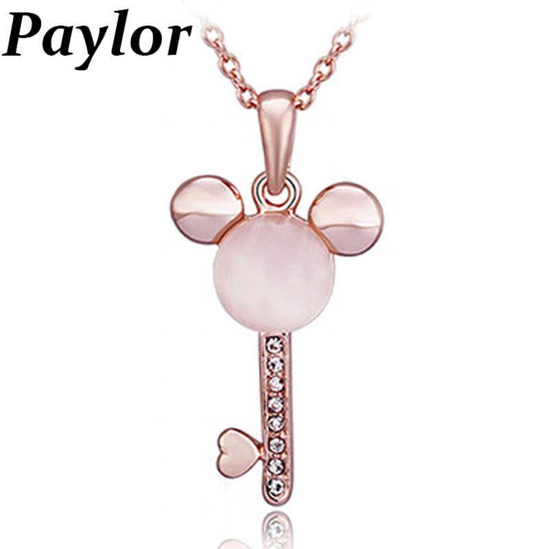 Paylor 2019 Новая мода розовое золото цвет Микки в форме Кристалл из опала Подвески ожерелье для женщин девочек день рождения ювелирные изделия