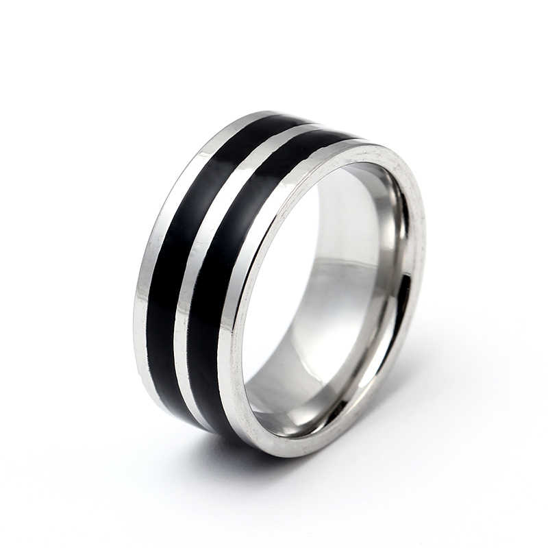 8mm Titanium Ring for Men 2 Black Lines Center Cool Black Wide