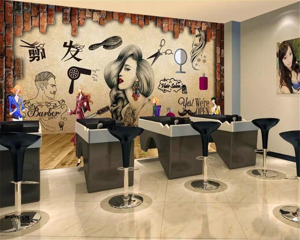Super Deal 0ce57 Beibehang Custom Wallpaper Mural Large Wall Painting Salon Hair Beauty Salon Background Wall Barber Shop Nostalgic 3d Wallpaper Ack Westpol Co