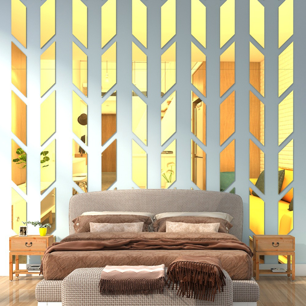 TV Background Decoration Mirror Wall Stickers Acrylic Wall ...