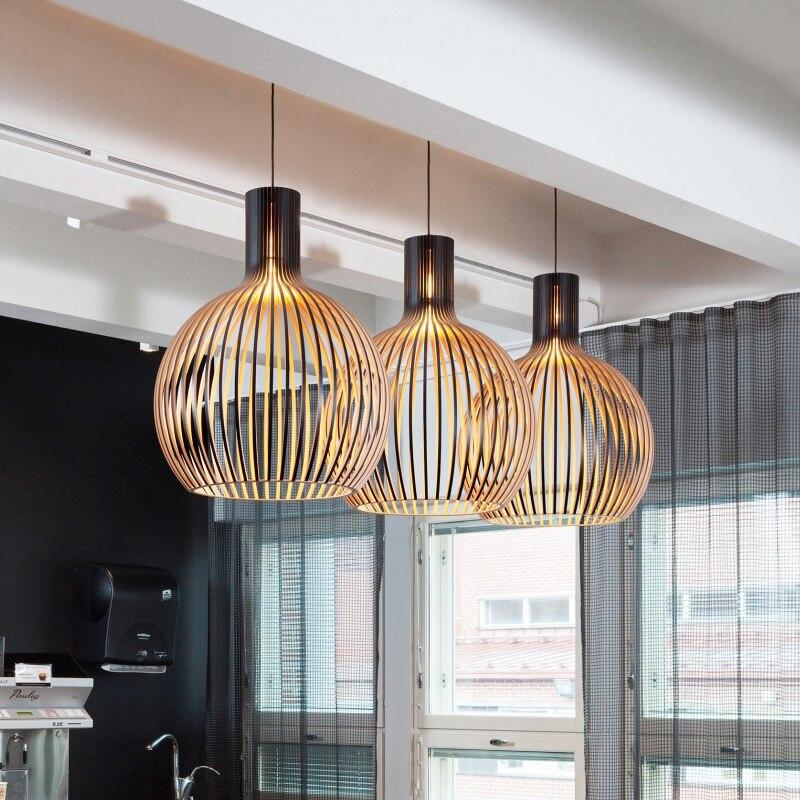 Modern Black Wood Birdcage E27 bulb Pendant light norbic home deco bamboo weaving wooden Pendant lamp - 3
