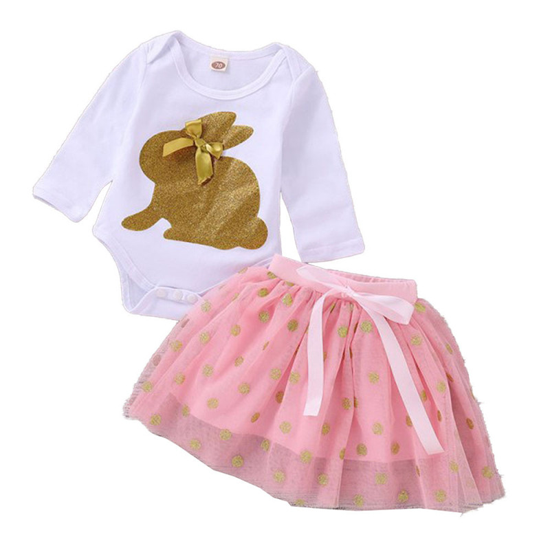 Easter Day Baby Girls Clothes Newborn Baby   Romper  +Tutu Skirt Outfits Cute Sequin Rabbit Infant Cltohing Set D1107
