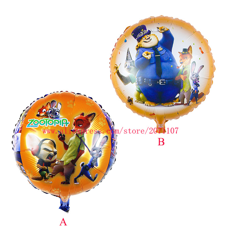 Lucky 30pcs/lot Zootopia Balloon Cartoon Crazy Animal City Foil Helium Balloons For Birthday Party Wedding Decoration Globos Toy