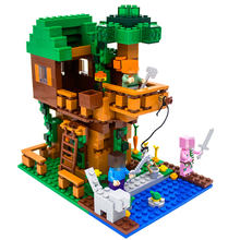 Legoing Minecraft Tree House My World Figures Building Blocks Bricks Compatible Legoing Minecrafted Education Toys For Children(China)