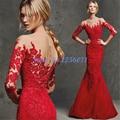 Red sexy sereia vestidos de baile 2017 longos apliques prom dress sexy vestidos de festa vestido de festa chique vestido de noite