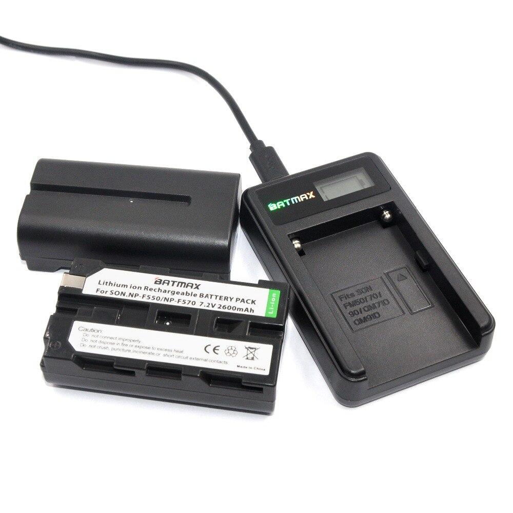 2 Pcs 2600mAhNP-F550 NP F550 NPF550 Rechargeable Li-ion batteries & LCD USB Chargeur pour Sony NP-F530 NP-F570 NP-F730 NP-F750 Hi-8