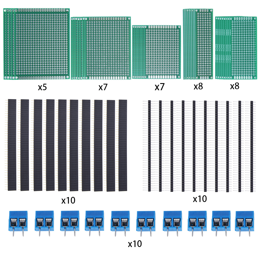 65Pcs 2x8, 3x7,4x6, 5x7, 6x8 Board Kit Includes Header Connector and Terminal Blocks+ 35Pcs Double Sided Prototype Boards