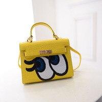 Crocodile Grain Shining Women Messenger Bag Small Flap Handbags Sweet Big Eyes Clutch Bags bolsa sac a main