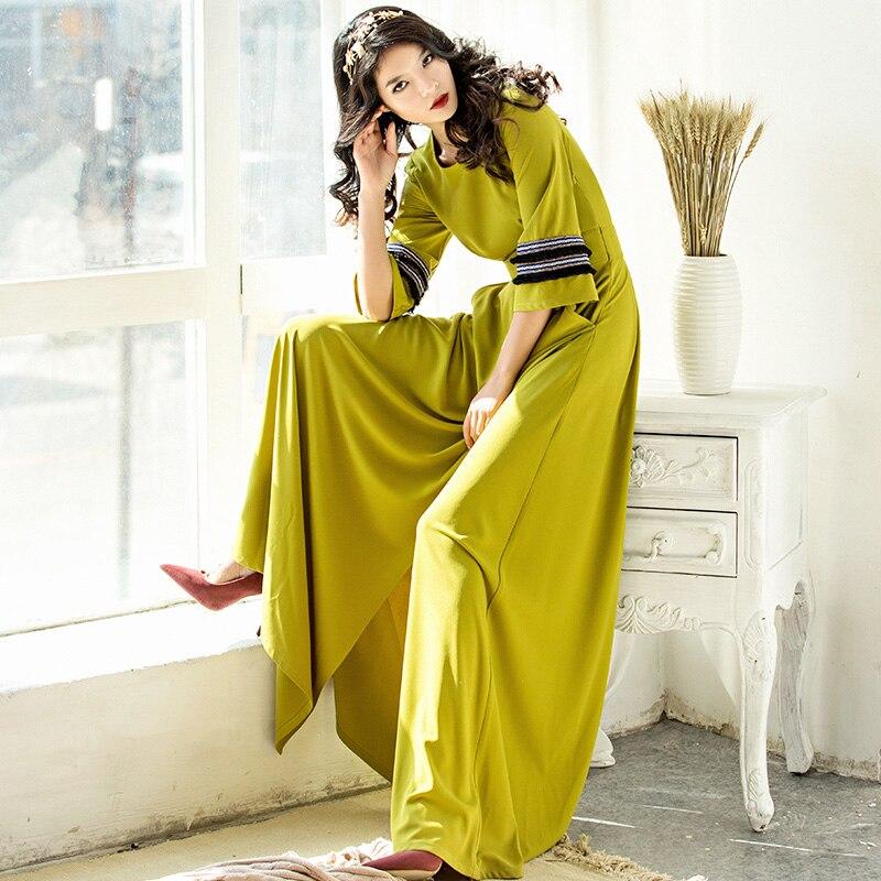 Wysokiej jakości 2017 nowa wiosna jesień damska Flare rękawem podziel długa sukienka w dużym rozmiarze kobiet piętro długość w stylu Vintage Slim stałe sukienki w Suknie od Odzież damska na  Grupa 2